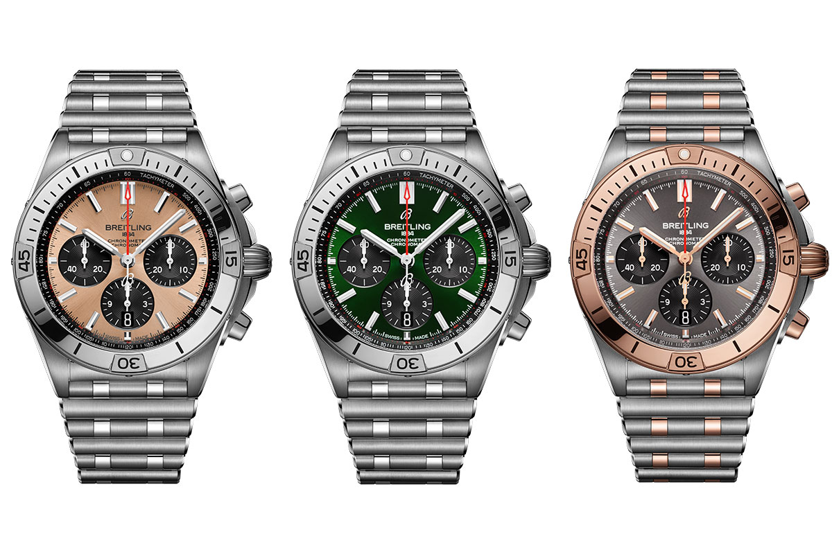 the new breitling chronomat collection in copper, green and Anthracite dial with contrasting subdial colours