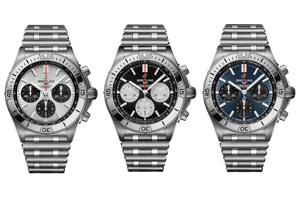 the new breitling chronomat collection in silver, black and blue dial with contrasting subdial colours