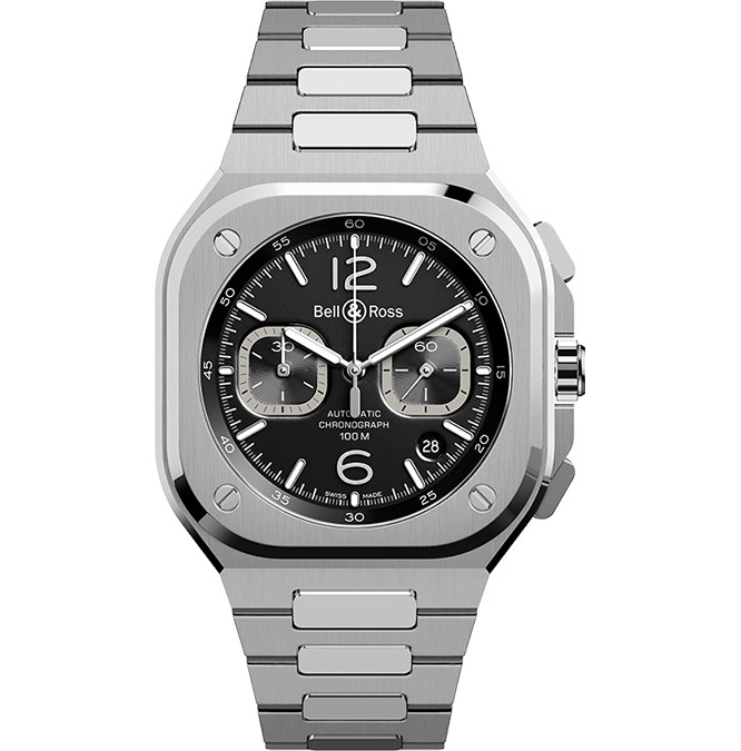 Bell and Ross BR 05 Chrono Black Steel BR05C-BL-ST/SST at Cortina Watch