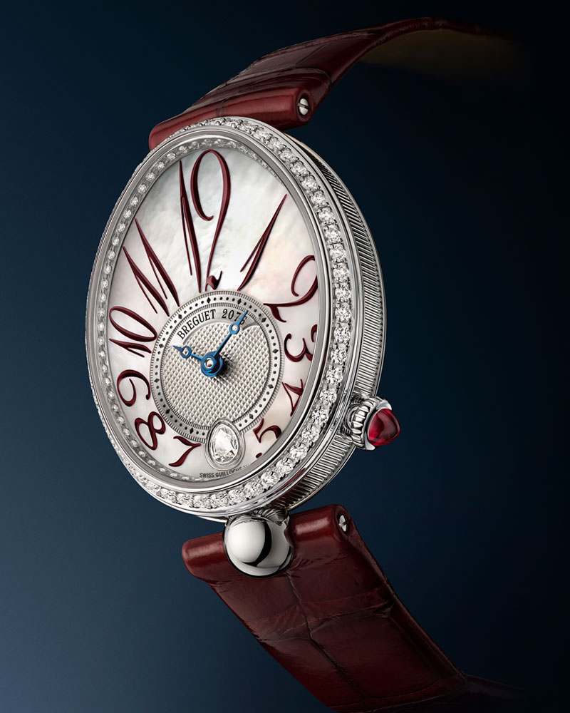 Breguet-Reine-De-Naples-with-red-indices-and-red-leather-strap-ref-8918BB5P964D00D