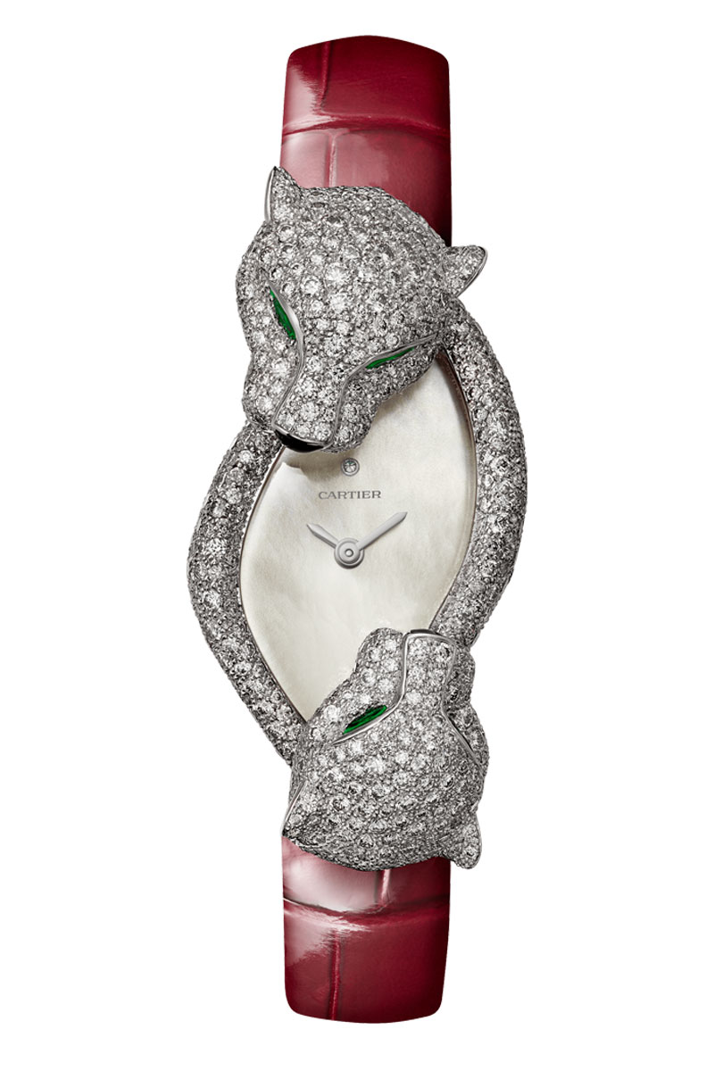 Cartier-Panthere-Crash-ladies-diamond-watch-with-red-leather-strap