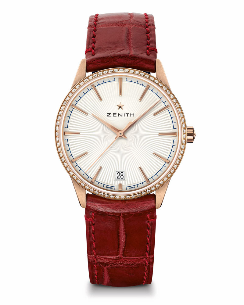 Zenith-Elite-Classic-in-rose-gold-case-with-textured-dial-on-red-leather-strap-ref-22_3200_670_01_C831